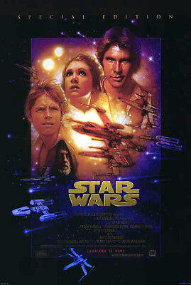 Star Wars (1977) movie poster reissue 1997 reproduction single-sided rolled