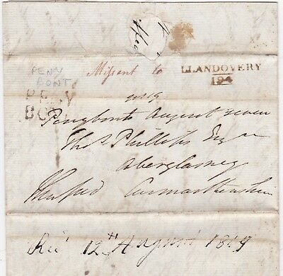 1819 Penybont Missent To Llandovery Free Letter Illegally Franked Lord Hereford