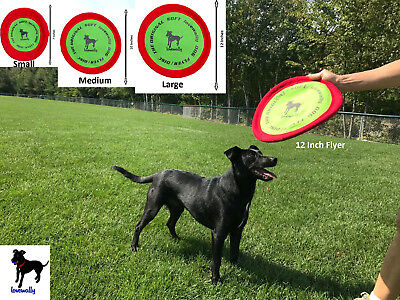 "Soft Bite Dog Toy Flyer Floppy Disc Gentle Fetch Frisbee Disc 7"" 9"" or 12"""