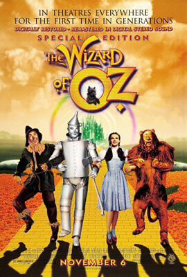 The Wizard of Oz (1939) movie poster reissue 1998 reproduction s-sided rolled