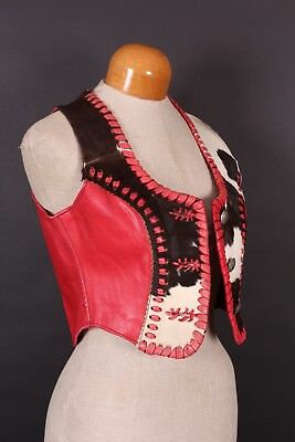 Vtg 70S Fort Grizzly Western Leather Vest Usa Womens Small