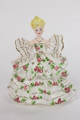 Lefton Belle #422 Victorian Style Ceramic Woman Figurine Ruffled Gown Dress