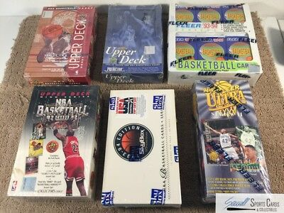 (6) 1992-1995 Basketball factory sealed unopened wax box lot,  *SEWALL*