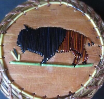 """2 color BUFFALO  of quill: 4.25"""" rnd coiled sweetgrass basket, P St. John-Mohawk"""