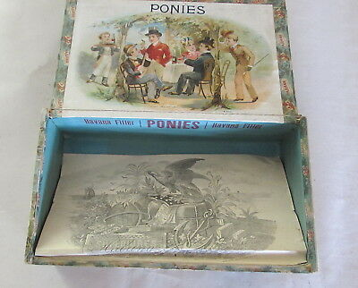 Wonderful Early Ponies Cigar Box W/ Inside Paper Havana Filter Factory 1867 Ny