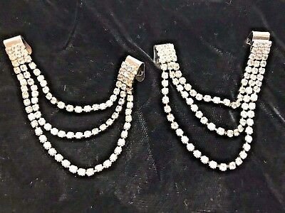 Vintage New SG D'OR High Heel Shoe Boot CLIPS Jewelry Rhinestone crystal chain