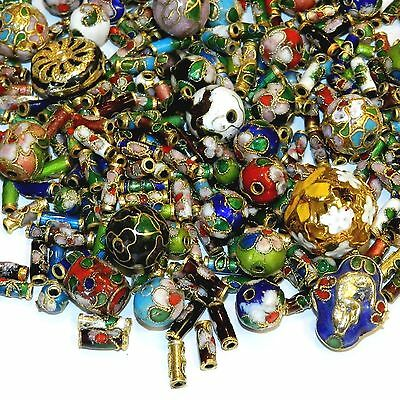 CLL167 Assorted Color, Shape & Size 6mm-16mm Cloisonne Enamel & Metal Beads 4/oz