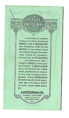 Old Advertising Card A Needleman & Co. Ladies Tailors Philadelphia PA