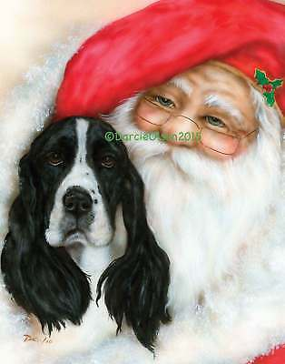 English Springer Spaniel  Santa note cards add a short message inside Free