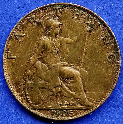 1905 Great Britain 1 Farthing Coin