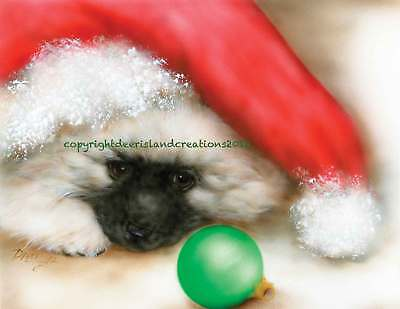 Keeshond Santa hat note cards add a short message inside Free