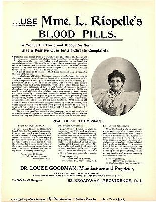 Mme. L. Riopelle's Blood Pills 1899 Advertisement