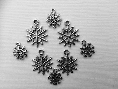 BB METAL CHARMS CHRISTMAS SNOWFLAKES  pk of 12 SILVER  2 sizes craft cards