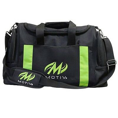 Motiv 2 Ball Deluxe Shoulder Tote Bowling Bag with Shoe Pocket Black/Green NEW