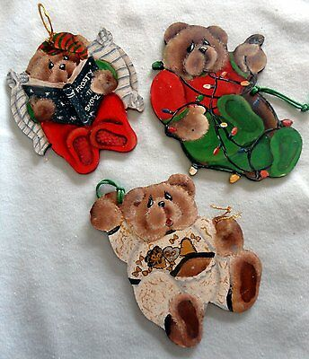 Christmas Ornaments - 3 Bear Hand Painted Hanging Shapes