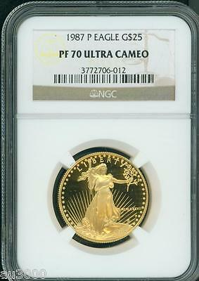 1987-P $25 GOLD EAGLE 1/2 Oz. NGC PF70 PROOF COIN PR70 PERFECT