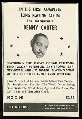 1954 Benny Carter photo Clef Records vintage print ad