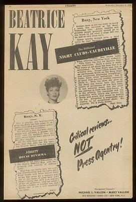 1945 Beatrice Kay photo performance tour booking trade ad
