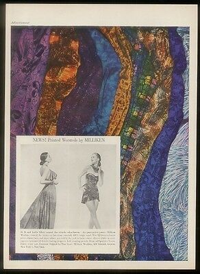 1948 Milliken Woolens fabric gown & swimsuit vintage print ad