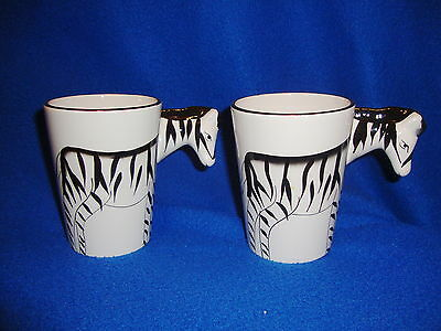 Set of Two Flomo Zebra Mugs Glasses New