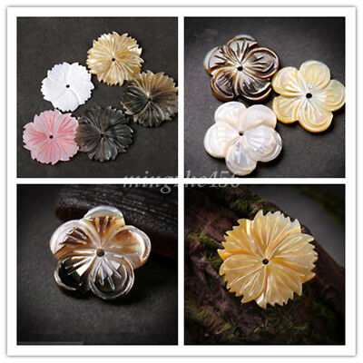2Pc Natural Carved Shell Bead Floral Design Jewellery Making DIY Crafts Sew Bead