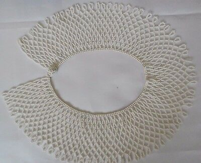 White Glass Seed Bead Vintage Collar with Clasp  Vintage Lot W1