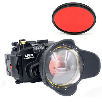 Meikon 40m Diving Case + Fisheye Dome Port + Red Filter For Sony A6000 16-50mm