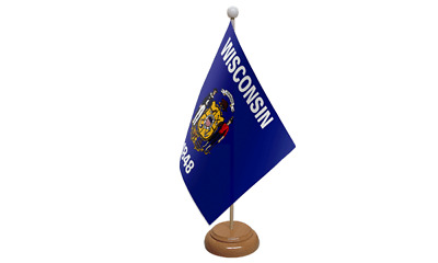 Wisconsin USA American Table Flag with Wooden Stand