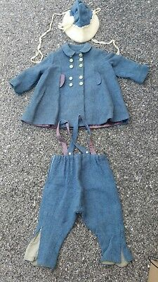 Antique Baby Boys Blue Suit Jacket Knicker Pants Hat Hand Made vtg Clothes