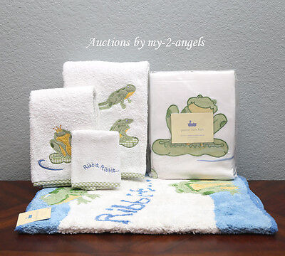Pottery Barn Kids 10-Pc Froggy Frog Shower Curtain+Bath Mat+Towels+Accessories