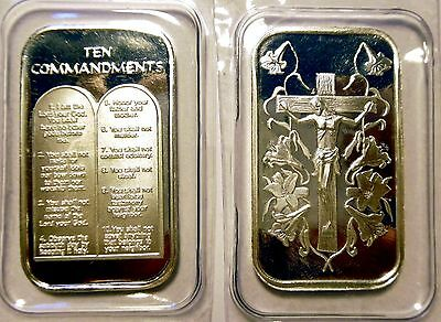 2 X 1oz.999 SILVER BARS = TEN COMMANDMENTS + JESUS ON THE CROSS ~  UNC & SEALED!