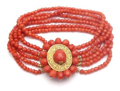 STUNNING ANTIQUE FRENCH 18K GOLD & RED CORAL 6 STRAND BRACELET 19th C