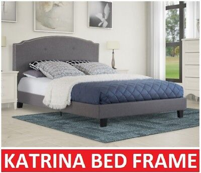 Katrina King Single Double Queen King Size Grey Fabric Bed Frame