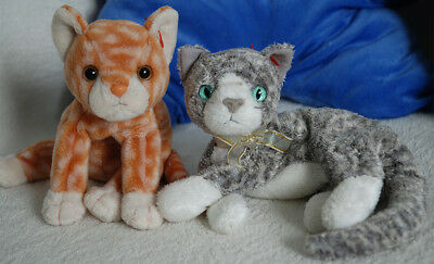 TY Beanie Babies 2 x Cats Amber 04243 & Grey Purr  04346 Soft Toy Ornaments