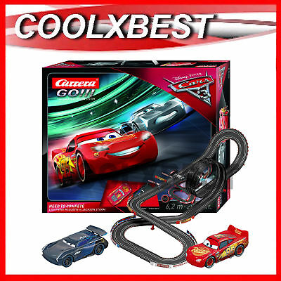 New Carrera Go Disney Cars 3 Need To Compete 1/43 Slot Car Set Super Loop 62420