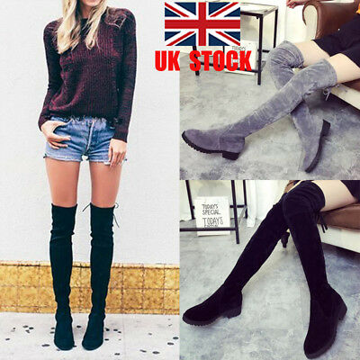 UK Womens Over The Knee Low Block Heel Thigh High Boots Flat Stretch Shoes Size