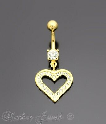 18K Yellow Gold Triple Plated Love Heart Dangle Cz Surgical Steel Belly Bar Ring
