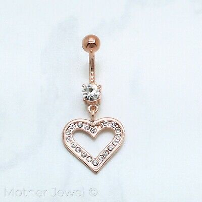 18K Rose Gold Triple Plated Love Heart Dangle Cz Surgical Steel Belly Bar Ring