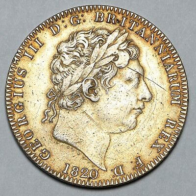 1820 King George Iii Great Britain Silver Crown Coin