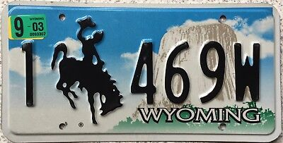 GENUINE Wyoming Bucking Bronco Devils Tower Pressed  License Number Plate 469W