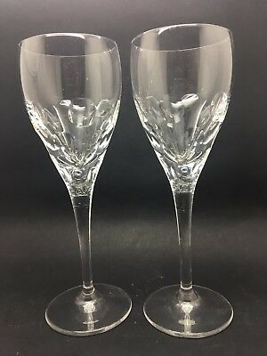 Pair Of Heavy Lead Crystal Wine Glasses In A Thumb Print Faceted Design