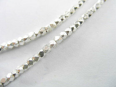 Karen Hill Tribe Silver 80 Faceted Beads 2mm. 6.5 inches