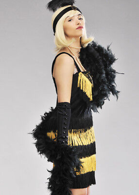 1920s Flapper Girl Deluxe Black Feather Boa