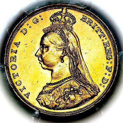 1887 M Queen Victoria Australia Melbourne Mint Gold Sovereign Coin PCGS AU58