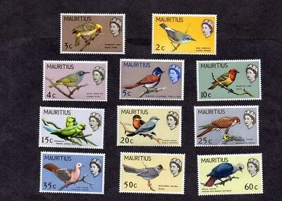 MAURITIUS.1965.BIRDS.PICTORIAL DEFINITIVE SET TO 60c.MINT NEVER HINGED.11xDIFF'T