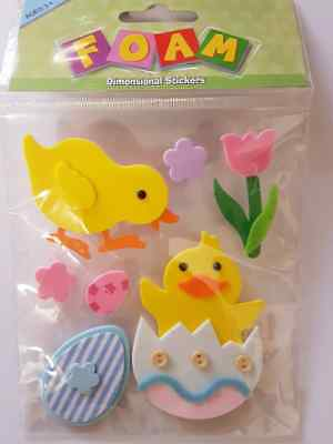 Pack of 7 dimensional Easter foam stickers craft card making embellishments