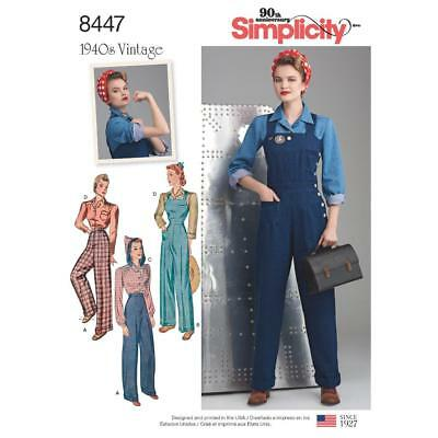 SIMPLICITY SEWING PATTERN MISSES' 1940s VINTAGE LAND GIRLS OVERALLS BLOUSES 8447