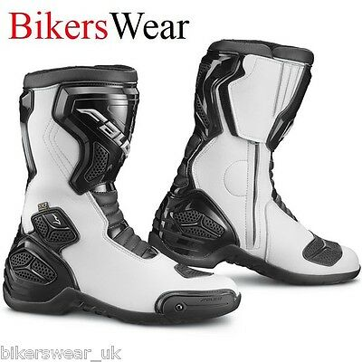 Falco Boots - Oxegen 2 White/Black Sports Motorcycle Racing Boots