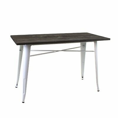 Industrial Table Rustic Vintage Style Dining Kitchen Wooden Top Metal Legs Retro