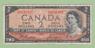 1954 Bank of Canada 2 Dollar Note - Beattie/Coyne - H/B9831427 - Fine